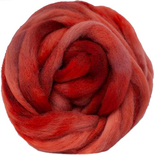 Wool Roving Hand Dyed. Super Soft BFL Combed Top Pre-Drafted for Easy Hand Spinning. Artisanal Craft Fiber ideal for Felting, Weaving, Wall Hangings and Embellishments. 1 Ounce. Egyptian Red