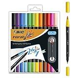 BIC Intensity Dual Tip Rotuladores y Marcadores Pincel - Varios Colores, Caja de 12Uds.