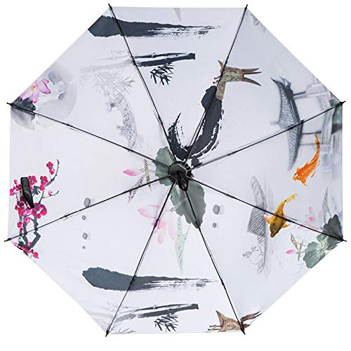 Langchao Sunny Paraguas sombrilla de Vinilo Parasol Protector Solar Estilo Chino Tinta Plegable Arte Antiguo Jardín de Sepia Flor Interior
