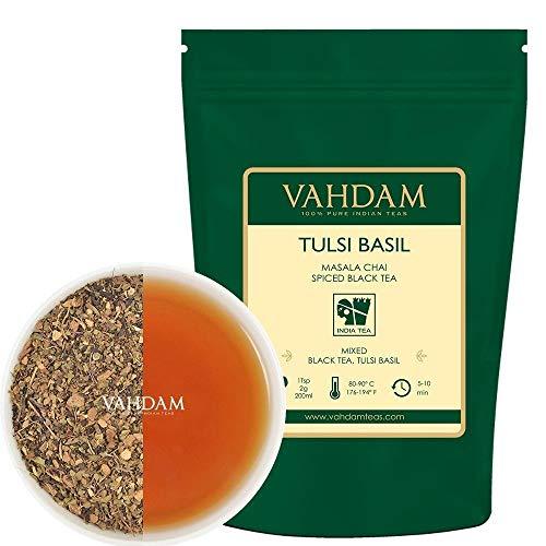 VAHDAM, Tè Al Basilico Tulsi, 100gr (50 tazze), Tè Al Basilico Santo | Tè Tulsi con SPEZIE NATURALI 100% | Tè speziato di Chai con foglie sciolte | Herbal Tea dall'India
