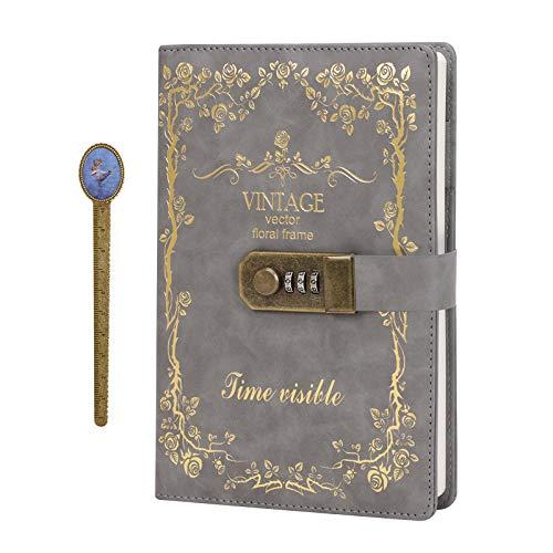 Diario con contraseña de piel sintética de poliuretano con cerradura DIN A5, bloc de notas, diario de viaje con cerradura de combinación.