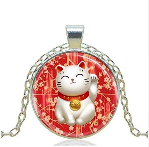 Pendentif chat collier Rouge Maneki Neko Porte Bonheur Collier vintage Art Bijoux