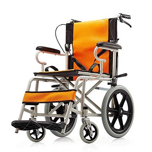 Yhtech Ligera silla de ruedas plegable, ancianos y discapacitados libre inflable ultraligero portátil de viaje de conducción Médico Suministros silla de ruedas Adecuado para la rehabilitación postoper