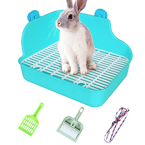 Hptmus-Rabbit Litter Box-Litter Box-Guinea Pig Litter Box-Ferret Litter Box-Corner Litter Box Bedding Rabbit Cage Accessories Corner Potty Trainer for Small Animals,Blue