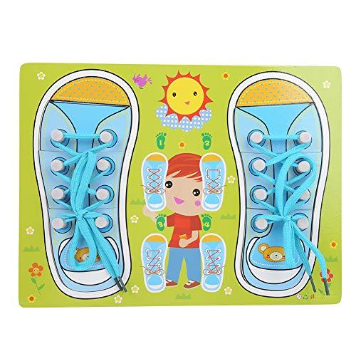 Lernhilfen zum Schnüren von Schnürsenkeln, Schnürsenkelspielzeug, Schuhe binden lernen Kleinkinder für Babys(QZM-Blue and Green Style Shoelaces, blue)