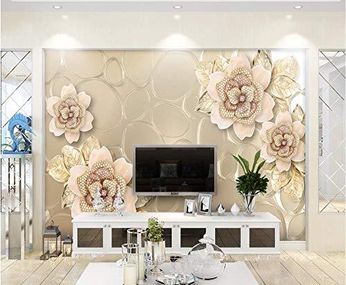 LYBSSG Papel pintado personalizado murales 3d diamante dorado flor de cristal fondo de joyería pintura de pared papel tapiz 3d-300x210cm