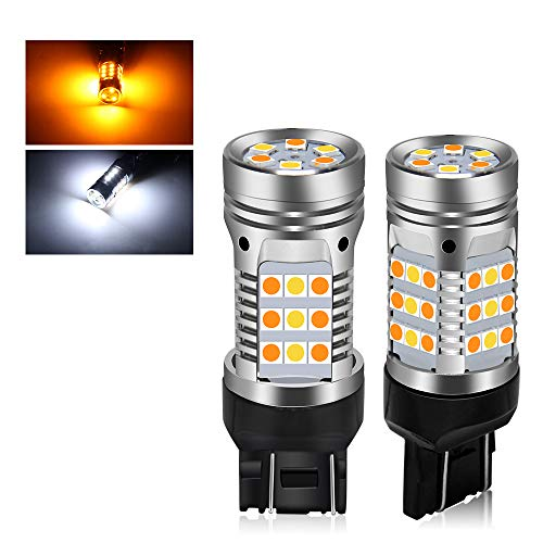 7443 Error Free Canbus Ready Switchback Dual Color Led Turn Signal Light Bulbs DRL Parking Lamp No Hyper Flash 42-LED Built-in Load Resistor 7443 T20 7441 7505 992 W21W Led Bulbs (7443 White Amber)