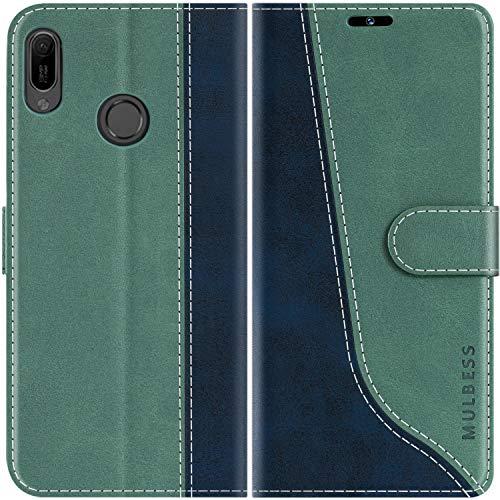 Mulbess Handyhülle für Huawei Y6 2019 Hülle, Handy Honor 8A Hülle, Leder Flip Etui Handytasche Schutzhülle für Huawei Y6 2019 / Honor 8A Hülle, Mint Grün