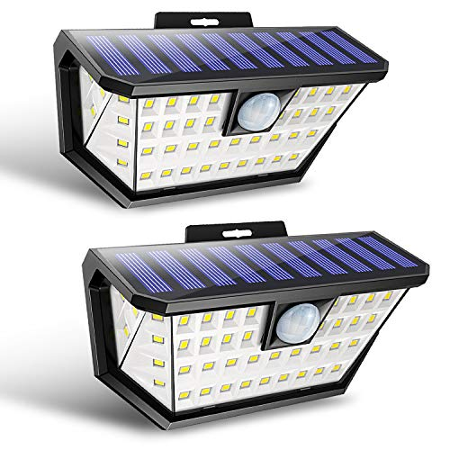 Babacom Luz Solar Exterior con Sensor de Movimiento, 48 Leds Foco Solar Exterior [2-Paquete], Luces Solares Impermeable Inalámbrico con Gran Ángulo 270º de Iluminación y 3 Modos para Jardin Yarda
