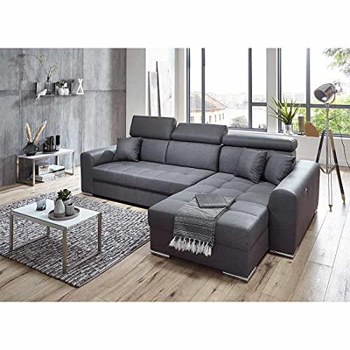 Ingvar Ecksofa in anthrazit Ottomane rechts, mit großer Sitzfläche und Relaxfunktion, hochwertige Polsterung, gemütliches Sofa in modernem Design