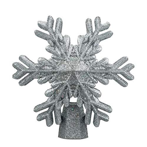 HUVE Weihnachtsbaum-Topper-Licht, Glitzernder Silberner Baum-Topper, Beleuchteter Schneeflocken-Baum-Topper Mit 3D-Schneeflockenprojektorlampe Weiße Schneeflocke Für Weihnachtsbaum-Ornament