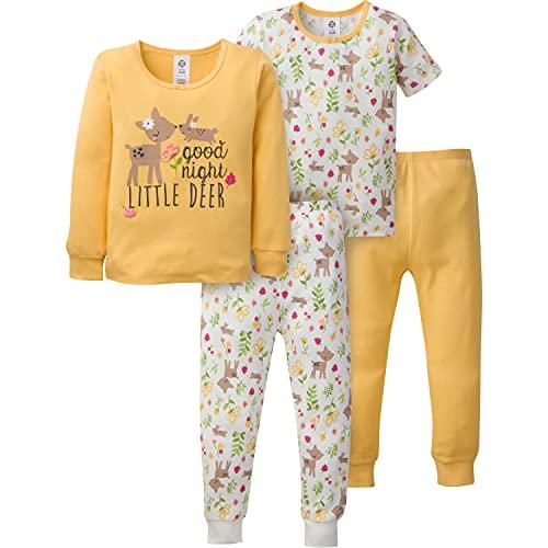 Gerber Baby Girls' 4-Piece Pajama Set, Yellow Deer Toddler, 4T