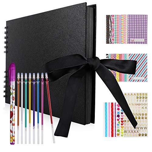 Hianjoo Album Photo Scrapbook, 40 Feuilles Livre de mémoire des Pages Noir 29 * 20cm Fait à la Main Album Bricolage (8 stylos de Peinture, 25 Autocollants) pour Mariage, Anniversaire, Saint Valentin