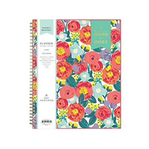 Day Designer for Blue Sky 2020-2021 Academic Year Weekly & Monthly Planner, Flexible Cover, Twin-Wire Binding, 8.5' x 11', Floral Sketch