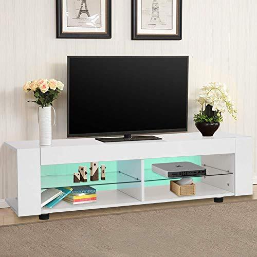 Greensen TV Board Holz TV Unterschrank Weiß Fernsehschrank TV Lowboard Hochglanz TV Schrank mit Offene Fächer Fernsehtisch mit 16 Farben LED Beleuchtung TV Möbel für Wohnzimmer Schlafzimmer