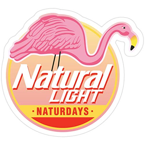 Stickers Natural Light Natty Naturdays Flamingo Circle Logo 3x4 Inch Wall Laptop Backpack Decals (3 Pcs/Pack)