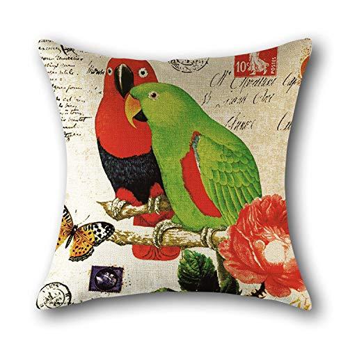 Almohadón Cuadrado Parrot Flores del Campo Y Los Pájaros Lino Impreso Home Almohada Linda Decoración Adecuado para Sofá Dormitorio Salón Automóvil De Color Cáscara Protectora,1