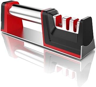 Joso - Afilador de cuchillos con 3 niveles, muy eficaz para cuchillos de acero inoxidable y de cerámica, todos los tamaños, parte inferior antideslizante (negro + rojo), negro + rojo, 1