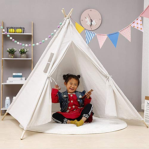 LIANWANG Kids Teepee Children Game Playhouse Tent, Cotton Canvas Kids Teepee Tent Childrens Wigwam Playhouse for Indoor and Outdoor (White)