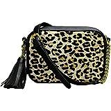Leopard print Crossbody Bag womens Leather Messenger Tassel Adjustable Strap Shoulder Handbag purse