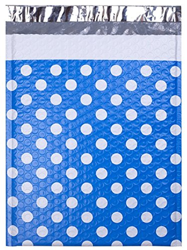 UCGOU #2 8.5x12 Inch Blue Dot Padded Envelopes Water Proof Poly Bubble Mailers Self Seal Mailing Envelopes Pack of 25