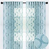 Chanasya 2-Panel Moroccan Embroidered Design Textured Sheer Curtain Panels - for Windows Living Room Bedroom Kitchen Office - Translucent Window Drapes for Home Decor - 52 x 96 Inches Long - Teal