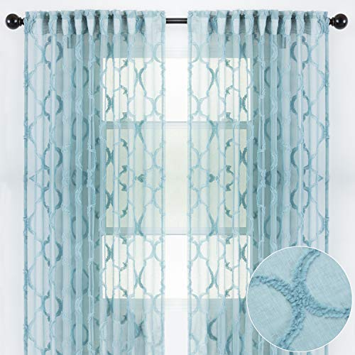 Chanasya 2-Panel Moroccan Embroidered Design Textured Sheer Curtain Panels - for Windows Living Room Bedroom Kitchen Office - Translucent Window Drapes for Home Decor - 52 x 63 Inches Long - Teal