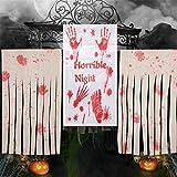 Decoraciones de cortina de puerta sangrienta de Halloween, paquete de 3, huellas de manos ensangrentadas, decoración de cortina de puerta espeluznante, suministros de fiesta temática de Halloween