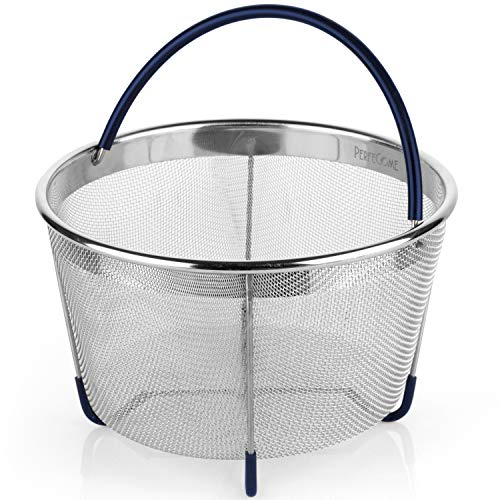 Steamer Basket for 6 and 8 Quart Pressure Cooker, fits Instant Pot 6, 8 Quart, Ninja Foodi and Other, IP Stainless Steel Insert with Silicone Covered Handle and Legs, PerfeCome