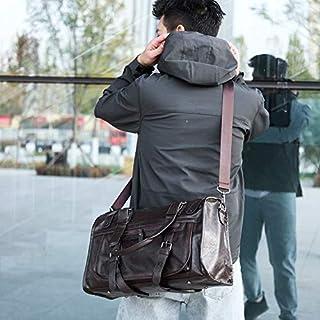 HAWEEL Foldable Travel Bag, PU Leather Shoulder Travel Bag Leisure Men Handbag (Black) (Color : Brown)