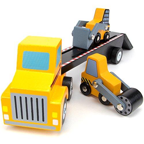Imagination Generation Tough Trucks Wood Construction Vehicles, Bulldozer, Steamroller, and Semi Truck Loader Toy