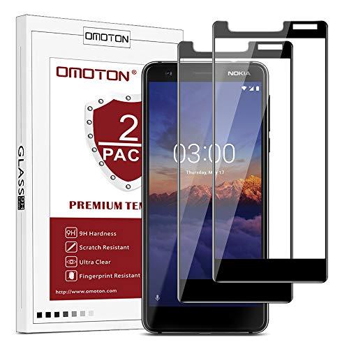 OMOTON [2 Stück] Panzerglas Schutzfolie für Nokia 3.1 Version 2018(5.2 Zoll), volle Bedeckung, Anti- Kratzer, Bläschenfrei, 9H Festigkeit, HD-Klar, 3D R&e Kante, Schwarz