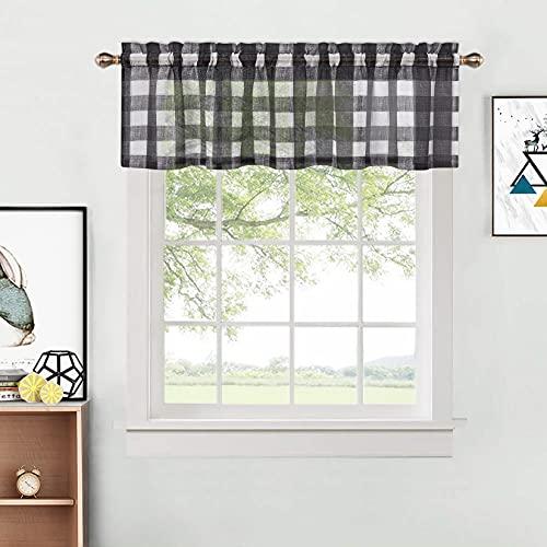 "CAROMIO Kitchen Valances Curtains, Buffalo Plaid Kitchen Curtain, Checkered Half Window Cafe Valances Light Filtering Rod Pocket Voile Curtain, 52"" W x 15"" L, Black and White, 1 Panel"