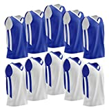 Youth Boys Reversible Mesh Performance Athletic Basketball Jerseys Blank Team Uniforms for Sports Scrimmage (10 Pack, Blue/White, Youth M)