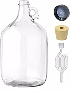 Home Brew Ohio 1 gal Jug W/Twinbubble Airlock, Polyseal Lid, #6 Drilled Stopper