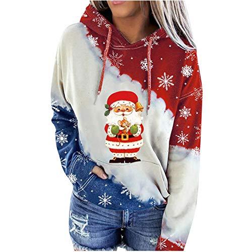 Wenese 2020 Weihnachtspullover Damen Modedruck Hoodie Rundhals-Pullover Weihnachten...