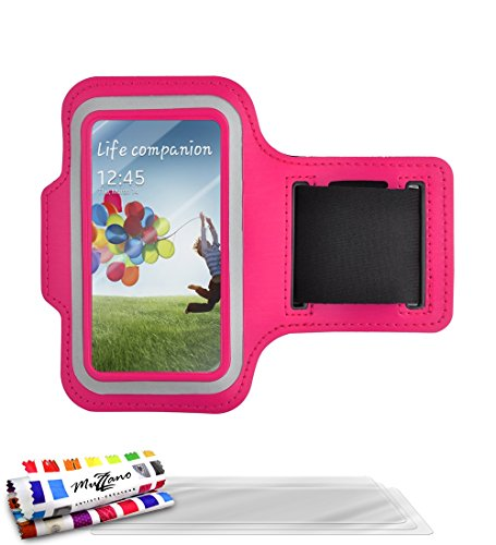 Muzzano originele armband met 3 ultraheldere displaybeschermfolie voor Samsung Galaxy S4 Advance - Hot Pink