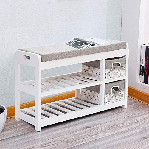 EXQUI 2 Tier Wooden White Shoe Storage Shoe Cabinet Bench Shoes Rack with Padded Seat and 2 Storage Wicker Baskets Shoes Cabinet Storage Unit for Hallway Bedroom, 70x28x42cm, D205HW