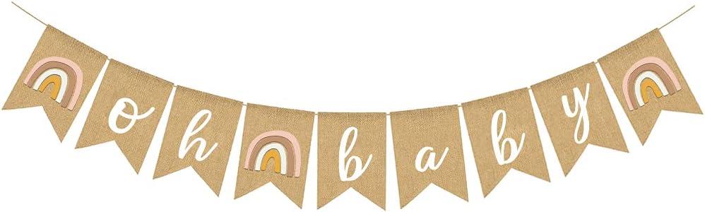 Boho Rainbow Baby Shower Burlap Banner Gender Neutral Nursery Decoration Themed Party Supplies