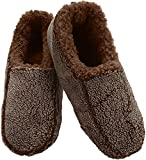 Snoozies Mens Two Tone Fleece Lined Slippers | Comfortable Slippers for Men | Fuzzy Mens Slipper Socks | Soft Sole Mens House Slippers | Chocolate | Large