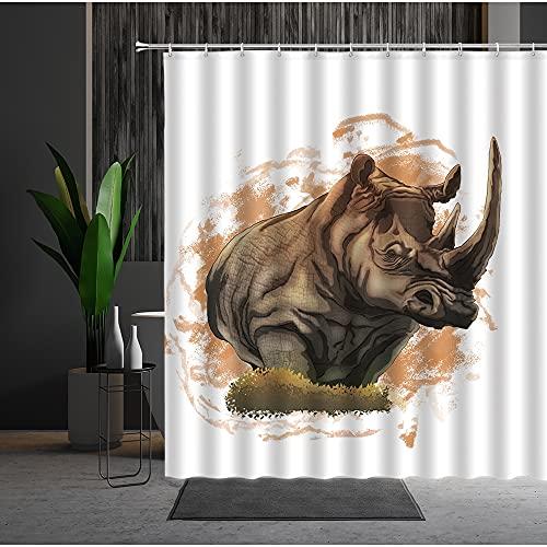 ROBMRT DuschvorhangTier Duschvorhang Nashorn Löwenbär Afrika Wild Biological Polyester Badezimmerzubehör Hintergr& Dekorative Malerei