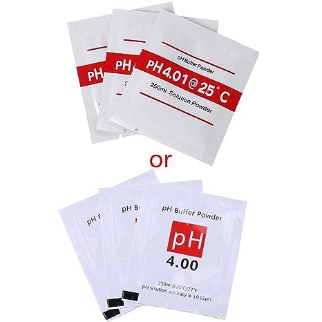 catyrre 20 St/ück PH-Pufferl/ösung Pulver PH f/ür Testmessger/ät Messkalibrierung 4.01 6.86