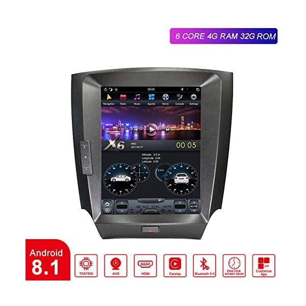 Flyunice 10.4 Inch Android 8.1 IPS Screen Tesla Style 4GB RAM Car Stereo Radio Head Unit for Lexus IS200 IS250 IS300 IS350 2006-2012 Built-in Carplay GPS Navigation Bluetooth Multimedia Player
