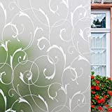 Lemon Cloud Window Film Privacy Window Sticker, Frosted Decorative Static Cling, Window Decals, Window Vinyl, Non-Adhesive Anti UV Flower Pattern for Glass Reusable (17.5In. by 78.7In, White Leaf)
