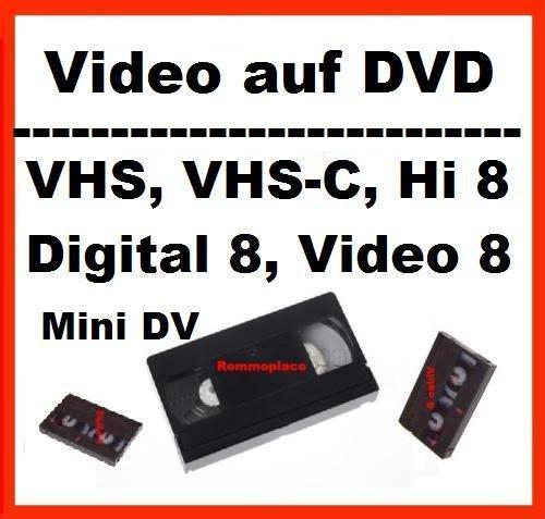 1 Stunde, VHS,VHS-C,Digital 8,Hi8, MiniDv,Digitalisieren auf DVD