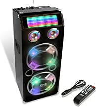 Wireless Active PA Speaker System - 1000W Portable High Powered Bluetooth Compatible Outdoor Sound Speaker w/ USB SD MP3 FM Radio AUX RCA LED DJ Lights - 35mm Stand Mount, Remote - Pyle PSUFM1035A