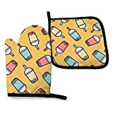 Treppteo Oven Mitts and Pot Holder Set, Bubble Tea Design Heat Insulation Kitchen Mittens Potholders Washable Cook Gloves for Cooking Baking Grilling