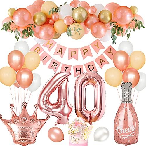 40 Anni Compleanno Festa Decorazioni, Palloncino Compleanno 40 Anni Oro Rosa Palloncino in Lattice Banner di Compleanno Foil Palloncini 40 per Donna Ragazza