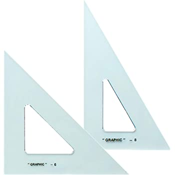 Alvin, Transparent Triangle, Economical Drafting Tool, Set of 2 - 6 and 8 Inches