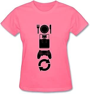 Tangry Women's Eat Game Sleep Design Cotton Short Sleeve T Shirt
